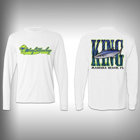 Youth Kingfish SurfMonkey - Youth Performance Shirts - Fishing Shirt Green King Fish