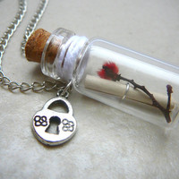 Message in a Bottle, Bottle Necklace, Personalized Necklace, Secret Message, Valentines Day, Love Letter, Real Australian Flower in a Bottle