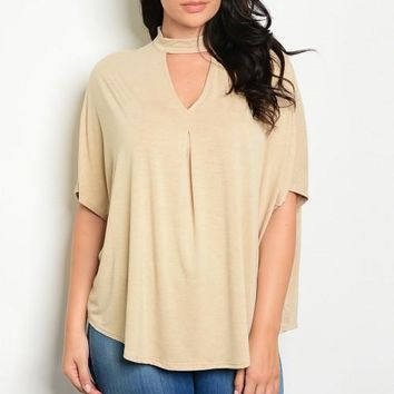 Taupe Choker Top - Plus Size
