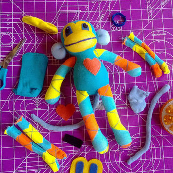 Sock Monkey Plush D.I.Y. Kit No. 902 - No Sewing Machine Needed
