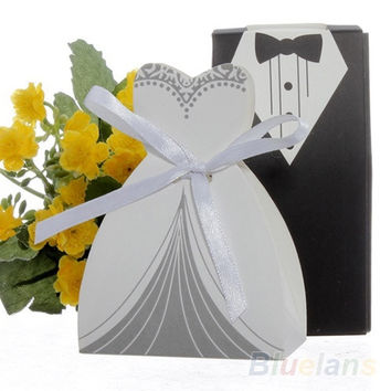 100pcs Party Wedding Favor DRESS & TUXEDO Bride and Groom Candy Box with Ribbon = 1929322948