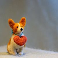 Corgi Love - Valentine's Day Felt Corgi with Plush Heart Collar