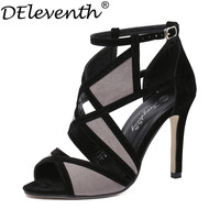 New Vogue Mix-Color Cut-Outs Sexy Women's Peep Toe High Heels Sandals Shoes /Ankle Strap