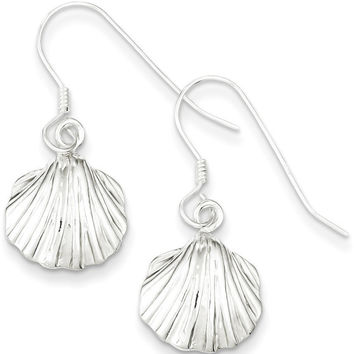 925 Sterling Silver Textured Scallop Shell Dangle Earrings