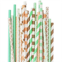 Peach Mint Gold Paper Straw Assortment