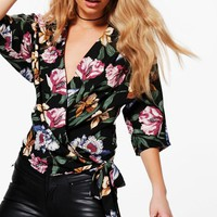 Agnes Floral Wrap Front Woven Blouse | Boohoo