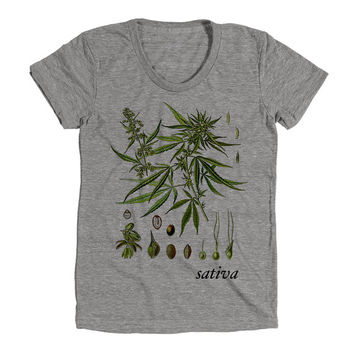 Weed Leaves Sativa Plant Growth Womens Athletic Grey T Shirt - Graphic Tee - Clothing - Gift