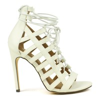Mark and Maddux Common-14 Elastic Gladiator Sandals in White @ ippolitan.com
