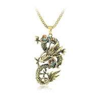 Brown Vintage Retro Rhinestone Crystal Jewelry Chinese Dragon Pendant