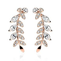 BodyJ4You Pair of Marquise Cut Crystal Clear Paved Leaf Ear Crawler Rose Goldtone Ear Climber