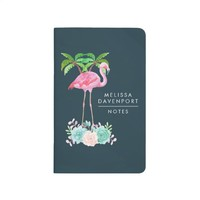 Pink Flamingo Palm trees and Floral Succulents Journal