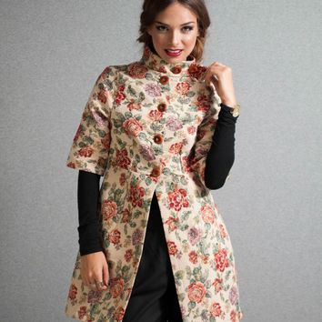 Floral coat, empire coat, brocade coat, 3/4 sleeves coat, brocade coat with high neck