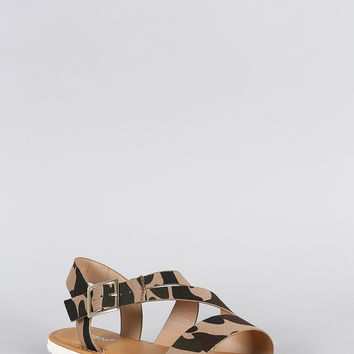 Bamboo Strappy Camouflage Sandal