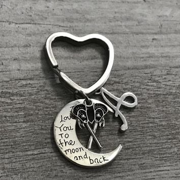 Personalized Lacrosse Keychain -  Love You to the Moon and Back