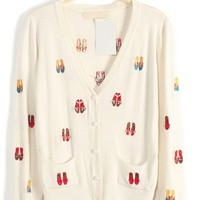 Shoes Graphic Button-up Cardigan