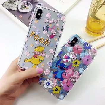 Cartoon Winnie Pooh Phone Case For iphone X Cover For Apple iphone 6s 6Plus 7 8 Plus Case Transparent TPU soft Coque Back