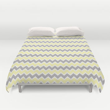 Grey Gray and Yellow Chevron Duvet Cover by decampstudios