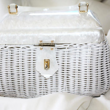 Vintage Purse Wicker Lucite, 1950s Purse Handbag Retro Mod, White Lucite Purse