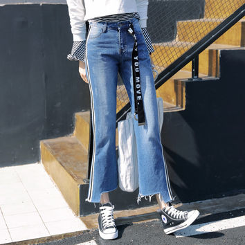 Denim Jeans Spring High Waist Slim Jeans Pants Female Casual Side Stripe