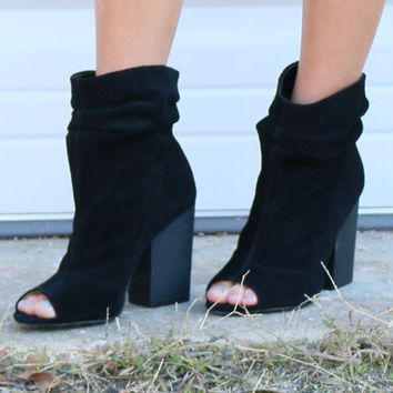 Chinese Laundry Beverly Thrills Black Suede Slouchy Peep Toe Bootie