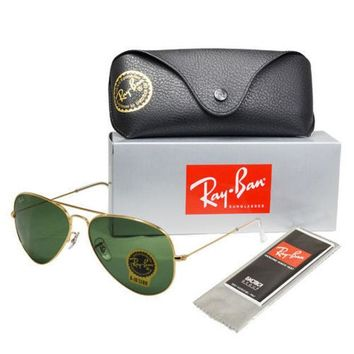 MDIGONT **New** Ray-Ban Aviator RB3025 Metal Sunglasses - Gold w/ G15 Green Lens (58mm)