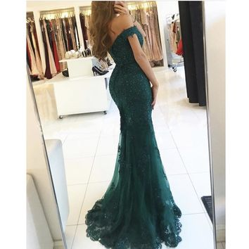 New Off The Shoulder Prom Dresses 2017 Modest Robe De Soiree Mermaid Style Beading Tulle Formal Evening Gowns Party Dress