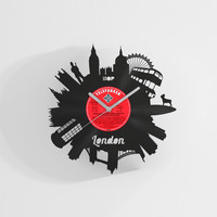 London City wall clock from upcycled vinyl record (LP) | Hand-made gift for music lover | London home wall decoration, housewarming present