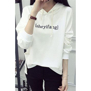 Letter Print Pockets Solid Color Loose Sport Hoodie