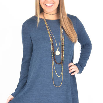 Long Sleeve Navy Marled Knit Swing Dress with Chest Pocket