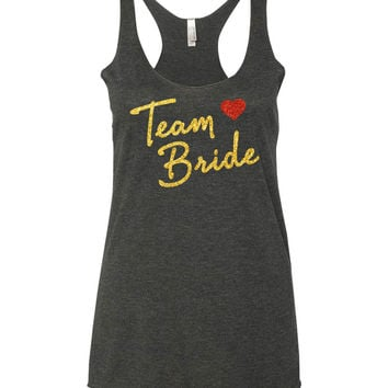 Team Bride Glitter Bridal or Bachelorette Tank Tops