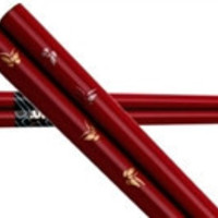 Butterflies of Gold and Silver on Burgundy Japanese Chopsticks