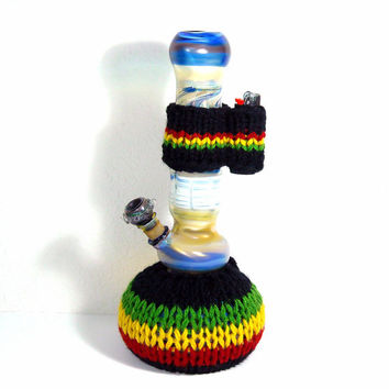 Rasta Bong Cozy and Matching Lighter Holder by WanderingHeads