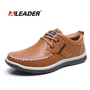 Men Leather Shoes Casual Oxford Shoes for Men Spring Fashion Lace Up Dress Shoes Outdoor Work Shoe Men