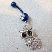 Owl bellybutton ring, naval ring w clear and indigo crystal eyes 14ga
