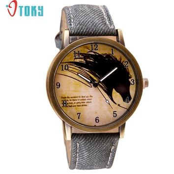OTOKY Willby Vintage Brief Painting Horse Watch