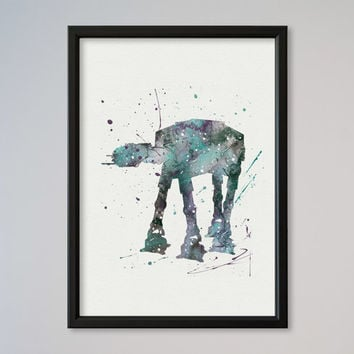 Star Wars AT-AT Walker Poster Watercolor Print Decor Wall Hanging Movie Poster The Empire Strikes Back All Terrain Armored Transport