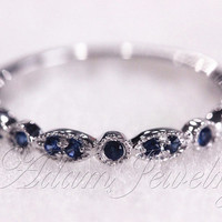 Blue Sapphire Ring 14k White Gold  Wedding Ring/  Half Eternity Band/ Engagement Ring/ Promise Ring/ Anniversary Ring