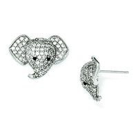 Cheryl M Sterling Silver Black and White CZ Elephant Post Earrings