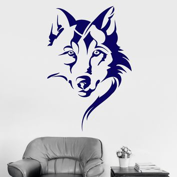 Vinyl Wall Decal Wolf Head Animal Tribal Art Room Decor Stickers Unique Gift (ig4146)