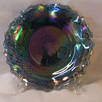 Indiana Glass Iridescent Blue Glass Plate (686)