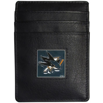 San Jose Sharks Leather Money Clip/Cardholder Packaged in Gift Box