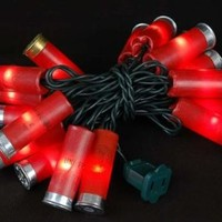 "Novelty Lights, Inc. 20LT-BUCKS-G-RE Commercial Grade Shotgun Shell Mini Light Set, Green Wire, Red Color Shells, 20 Light, 4"" Spacing, 9' Long, Connect 14"