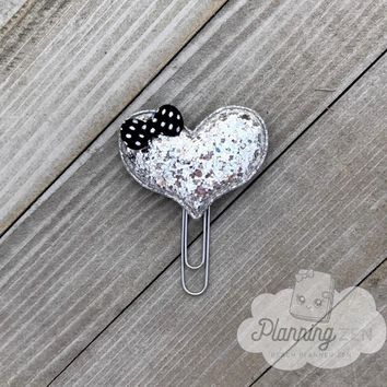 Silver Glitter Puffy Heart Planner Clip with Bow