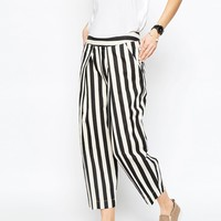 ASOS WHITE Stripe Denim Pants with Front Pleat Detail