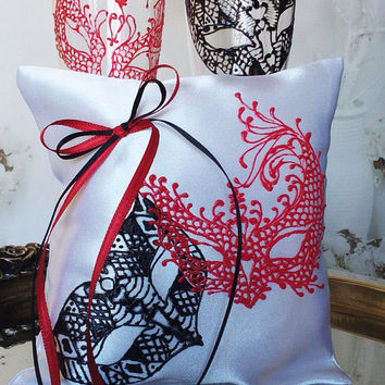 Hand painted Satin white ring bearer pillow Masquerade mask in black and red personalized wedding favor