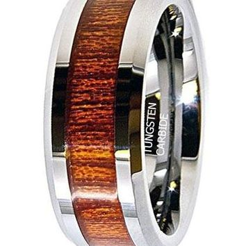 CERTIFIED 8MM Unique Wood Grain Inlay Tungsten Wedding Band