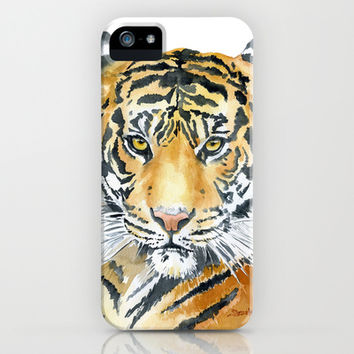 Tiger Watercolor Painting iPhone & iPod Case by Susan Windsor
