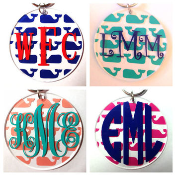 Monogrammed Whale Keychain - Tons of Colors and Monogram Styles - Bridesmaid Newlywed Teacher Big Little Sorority Sister Mom