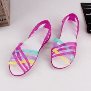Women Sandals Hot Summer New Candy Color Women Shoes Peep Toe Stappy Beach Valentine Rainbow Croc Jelly Shoes Woman Flats