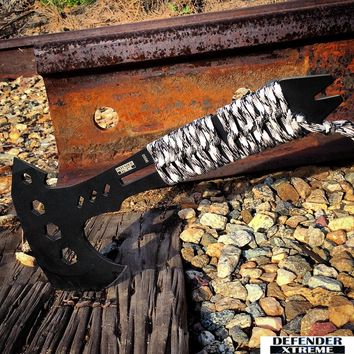 "Defender-Xtreme 10.5"" Hunting Survival Tactical Axe - Black & Snow Camo Handle"